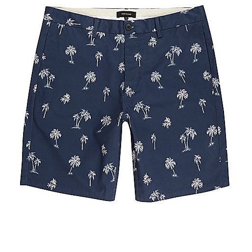 Blue palm tree print chino shorts