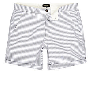 Blue stripe slim fit casual shorts