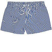 Blue stripe slim fit swim shorts