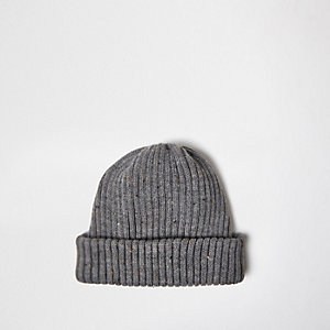 Grey marl fisherman beanie