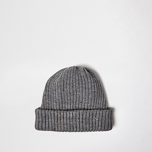Grau melierte Beanie-Mütze