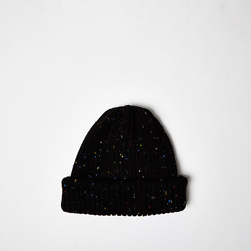 Black speckled fisherman beanie