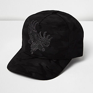 Black camo embroidered cap