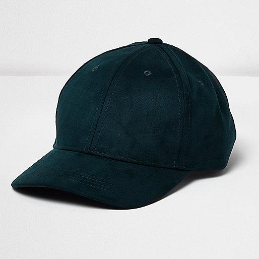 Petrol blue faux suede cap