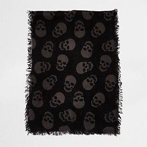 Black skull print tassel scarf