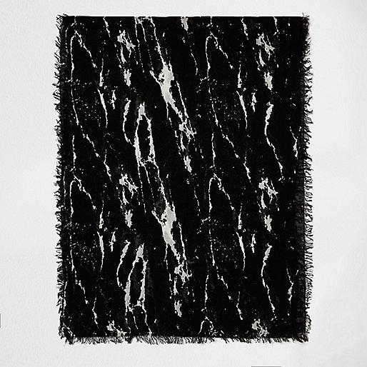 Écharpe à imprimé marbré noire