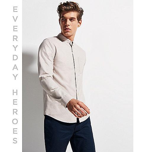 Steingraues, casual Oxford-Hemd