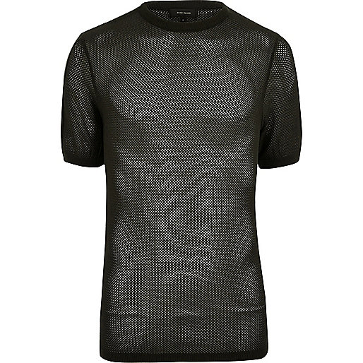 Dark green mesh cotton t-shirt