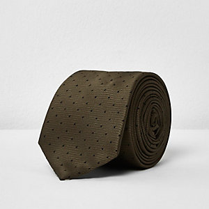 Khaki green spot tie