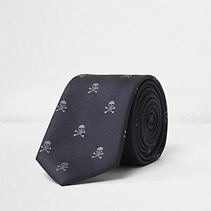 Black skull print tie