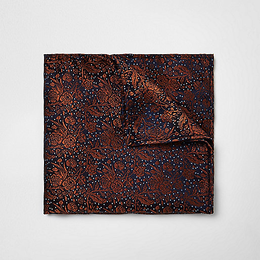Rust orange print pocket square