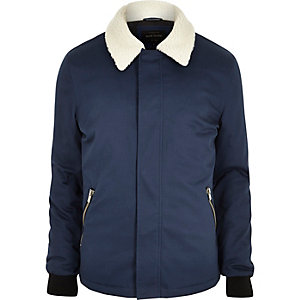 Blue borg collar jacket