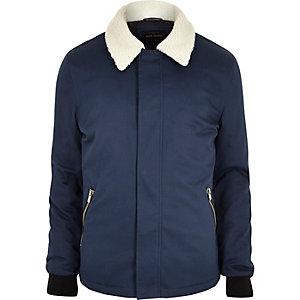 Veste bleue avec col imitation mouton