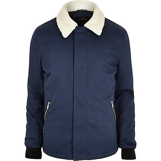 Blue fleece collar jacket