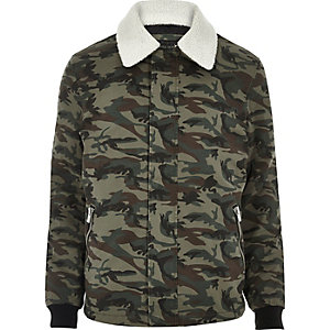 Khaki camo fleece collar jacket