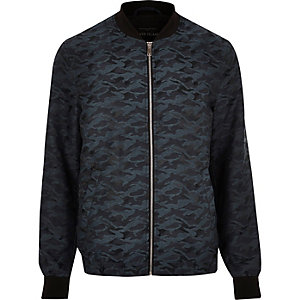 Turquoise camo jacquard bomber jacket