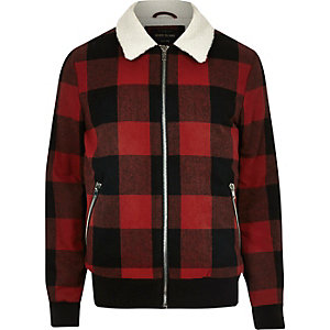 Red check fleece collar jacket