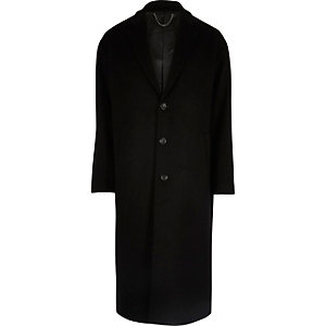 Black long wool blend overcoat