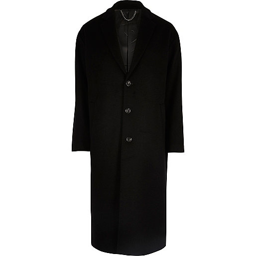 Pardessus long en laine mélangée noir