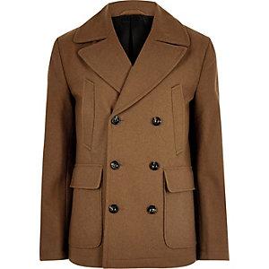 Braune, elegante Cabanjacke aus Wolle