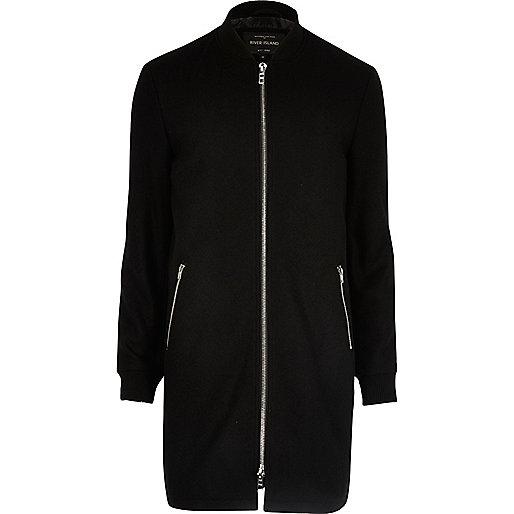 Black smart longline zip bomber jacket