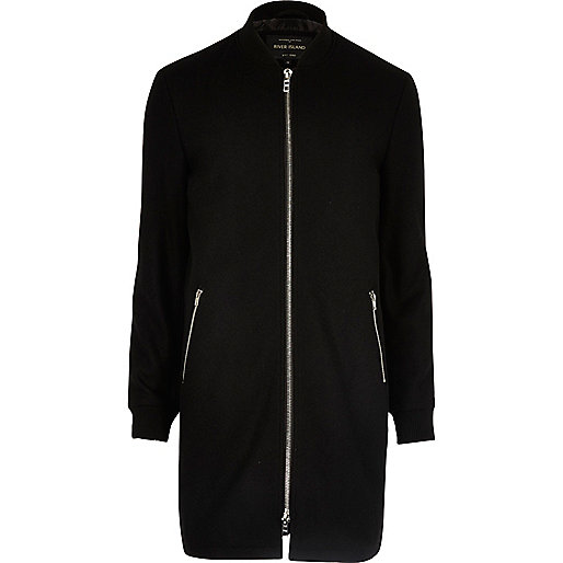 Blouson long noir zippé habillé