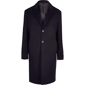 Navy smart wool blend overcoat