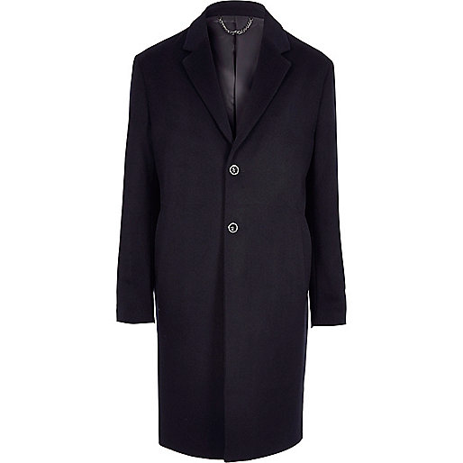 Navy smart cocoon overcoat