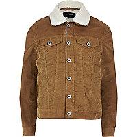 Brown fleece lined corduroy jacket