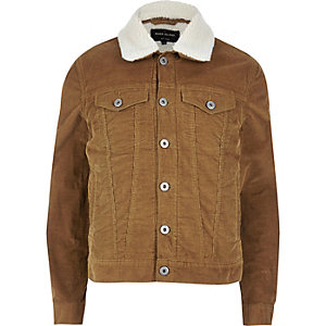 Brown fleece lined corduroy jacket
