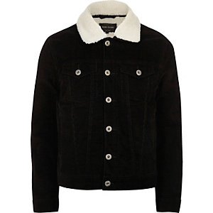 Black fleece lined corduroy jacket