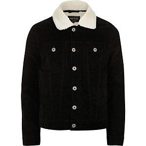 Black borg lined corduroy jacket