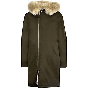Green faux fur lined longline parka