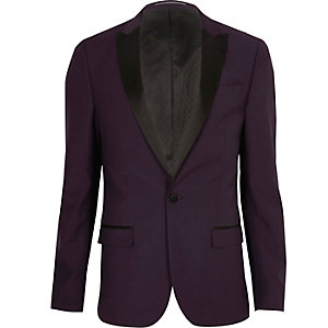 Purple skinny tux suit jacket