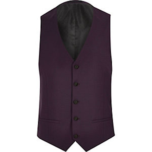 Purple slim fit tux waistcoat
