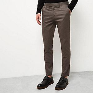 Pantalon skinny marron à imprimé pied-de-poule
