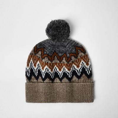 Light brown Fairisle knit bobble hat - hats - accessories - men