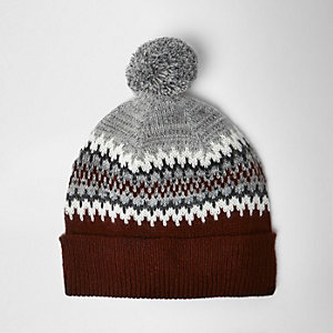 Red Fairisle knit bobble hat