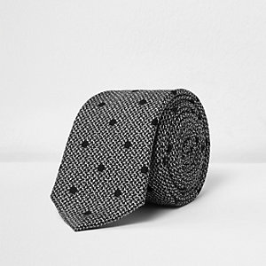 Black textured spot tie