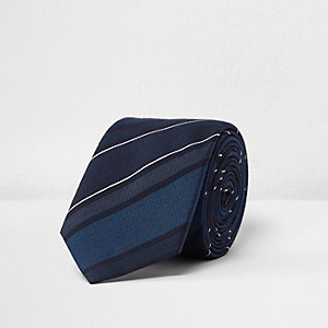 Blue stripe silk tie