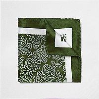 Grünes Seideneinstecktuch mit Muster