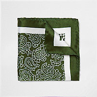Pochette en soie verte multi-motifs