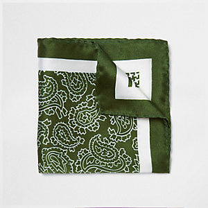 Green mixed pattern silk pocket square