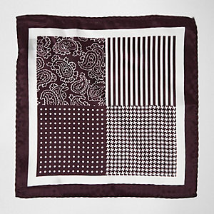 Red mixed pattern silk pocket square