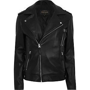 Black zip biker jacket