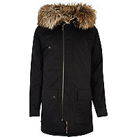 Black faux fur trim hooded longline parka