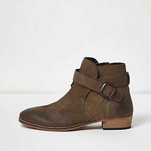 Bottes en cuir usé grège style western