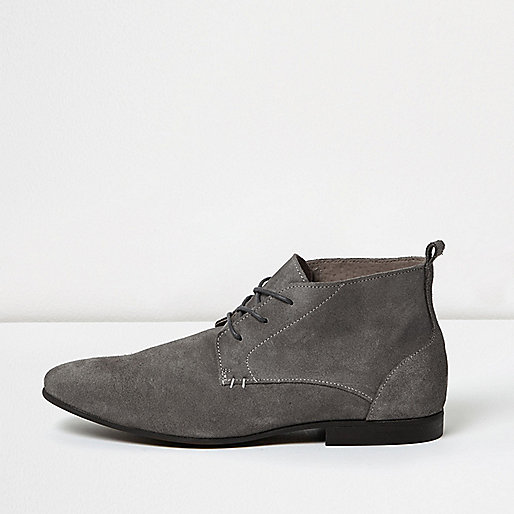 Grey suede lace-up boots