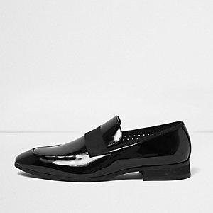 Schwarze Lack-Loafer