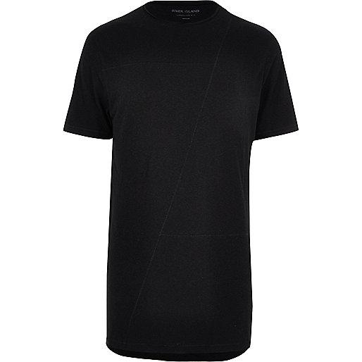 Schwarzes, langes T-Shirt mit Ziernaht